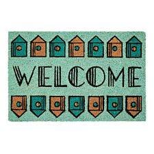 Premier Housewares Blue Coir Doormat - Welcome Home