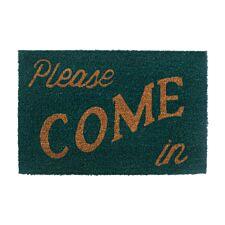 Premier Housewares Green Coir Doormat - Please Come In