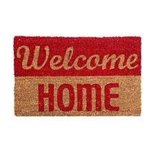 Premier Housewares Natrual and Red Coir Doormat - Welcome Home