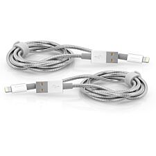 Verbatim Lightning to USB Stainless Steel Sync & Charge Cables - Set of 2, 100cm Silver