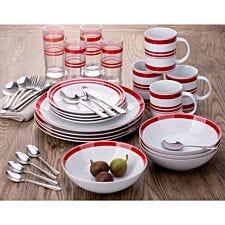 The Waterside 36 Piece Bistro Stripe Dinner Set