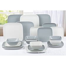 The Waterside 24 Piece Hampton Square Dinner Set - White/Grey