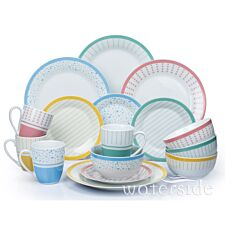 The Waterside 16 Piece Sorbet Mix & Match Dinner Set - Multi