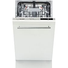 Sharp QW-S12I492X-EN Built-In Slimline Antibacterial Dishwasher with Active Drying - White