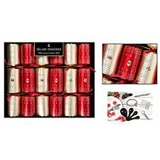 Set of 6 Deluxe Christmas Crackers - Red & Gold
