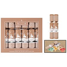 Set of 6 Deluxe Christmas Crackers - Craft brown