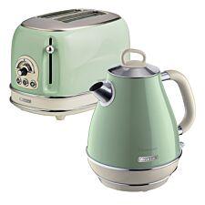 Ariete ARPK2 Vintage 2–Slice Toaster and 1.7L Fast Boil Jug Kettle – Green