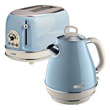 Ariete ARPK3 Vintage 2–Slice Toaster and 1.7L Jug Kettle – Blue