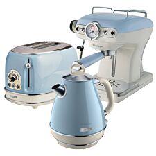 Ariete ARPK6 Vintage 2–Slice Toaster, 1.7L Jug Kettle, and Espresso Coffee Maker – Blue