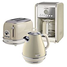 Ariete ARPK7 Vintage 2–Slice Toaster, 1.7L Fast Boil Jug Kettle, and 12–Cup Filter Coffee Maker – Cream