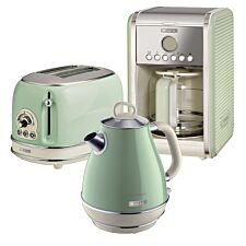 Ariete ARPK8 Vintage 2–Slice Toaster, 1.7L Fast Boil Jug Kettle, and 12–Cup Filter Coffee Maker – Green