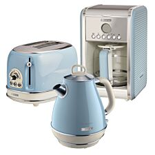 Ariete ARPK9 Vintage 2–Slice Toaster, 1.7L Jug Kettle, and 12–Cup Filter Coffee Maker – Blue