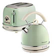 Ariete ARPK11 Vintage 2–Slice Toaster and 1.7L Dome Kettle – Green