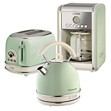 Ariete ARPK14 Vintage 2–Slice Toaster, 1.7L Dome Kettle, and 12–Cup Filter Coffee Maker – Green