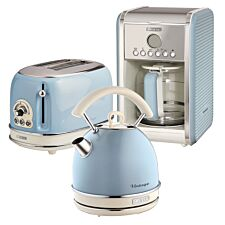Ariete ARPK15 Vintage 2–Slice Toaster, 1.7L Dome Kettle, and 12–Cup Filter Coffee Maker – Blue
