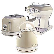 Ariete ARPK16 Vintage 2–Slice Toaster, 1.7L Dome Kettle, and Espresso Coffee Maker – Cream