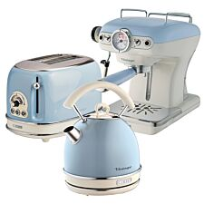 Ariete ARPK18 Vintage 2–Slice Toaster, 1.7L Dome Kettle, and Espresso Coffee Maker – Blue