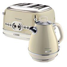 Ariete ARPK19 Vintage 4–Slice Toaster and 1.7L Fast Boil Jug Kettle – Cream
