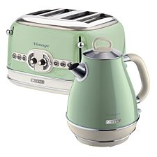 Ariete ARPK20 Vintage 4–Slice Toaster and 1.7L Fast Boil Jug Kettle – Green