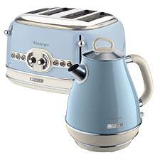 Ariete ARPK21 Vintage 4–Slice Toaster and 1.7L Jug Kettle – Blue