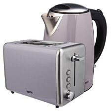 Igenix 1.7L Stainless Steel Kettle & 2-Slice Toaster - Grey