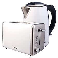 Igenix 1.7L Stainless Steel Kettle & 2-Slice Toaster - White