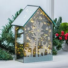 Battery Operated LED Glass Mirror House
