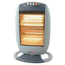 Lloytron Small Oscillating Halogen Heater with 3 Heat settings 1200W - Grey