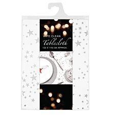Wipe Clean Star Tablecloth - Silver