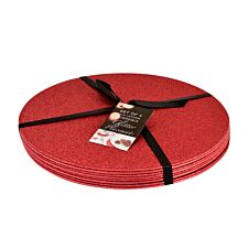 Set of 4 Glitter Placemats - Red