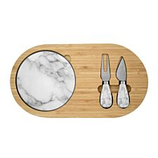 Bamboo and Marble Cheeseboard Set