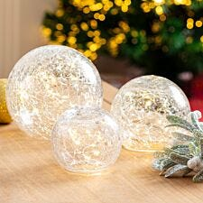 Set of 3 Battery Operated Crackle Glass Balls - Warm White