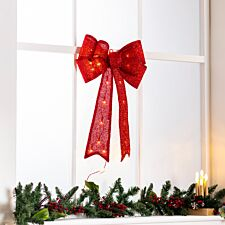Robert Dyas Battery Operated Red Tinsel Bow
