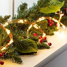 Robert Dyas Battery Operated 1.5 Copper Garland Lights - Warm White