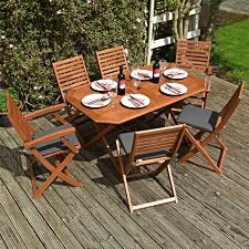 Rowlinson Plumley 6 Seater Hardwood Dining Set with Grey Cushions