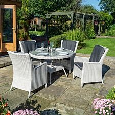 Rowlinson Prestbury 4 Seater Dining Set - Light Grey