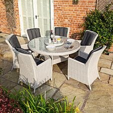 Rowlinson Prestbury 6 Seater Dining Set - Light Grey