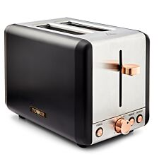 Tower 850W 2 Slice Stainless Steel Toaster - Black/Rose Gold
