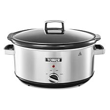Tower 6.5L Stainless Steel Slow Cooker - Silver
