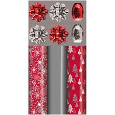 Red & Silver Christmas Gift Wrap Pack
