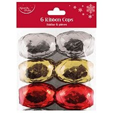 Pack of 6 Ribbon Cops - Silver/Gold/Red