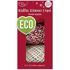 Pack of 3 Raffia Ribbon Cops - White/Red/Red&White