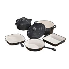 Robert Dyas 5 Piece Cast Iron Pan Set - Grey