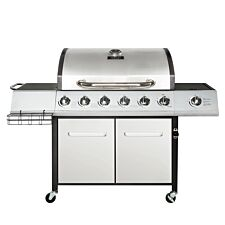 Charles Bentley 7 Burner (6 + side) Premium Gas BBQ - Silver