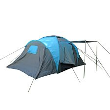 Charles Bentley Four Person Camping Tunnel Tent & Awning - Grey & Blue