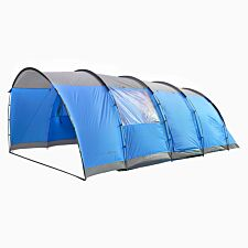 Charles Bentley Six Person Camping Tunnel Tent - Grey & Blue