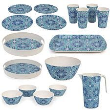 Cambridge BPA Free 17pcs Picnic Dining Set - Blue