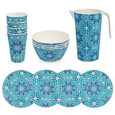 Cambridge BPA Free 13pcs Picnic Dining Set - Blue
