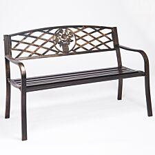 Greenhurst Bronze Coalbrookdale Garden Bench with Cast Iron Rose Insert