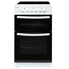 Haden HECT50W 50cm Freestanding Twin Cavity Electric Cooker with Ceramic Hob - White